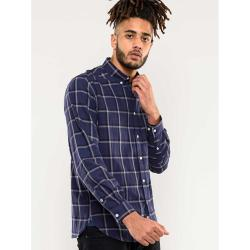 D555 LONG SLEEVE COTTON CHECK CASUAL SHIRT GLADSTONE NAVY / KHAKI  3 - 8XL