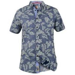 D555 Short Sleeve Hawaiian Reverse Print Shirt OSWALD