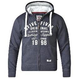D555   FULL ZIPPER  HOODY WITH EMBROIDERY AND APPLIQUE DETAIL DARK CHARCOAL MELANGE 5XL