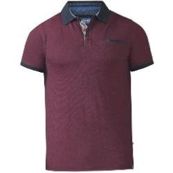 D555 Fine Woven Polo with Textured collar and  pocket WINE/NAVY