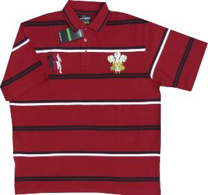 Cotton Rich Rugby Polo Shirt  CYMRU 8XL