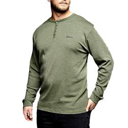 REPLIKA JEANS Long Sleeve Grandad tee GREEN