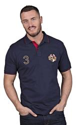 RAGING BULL  SHORT SLEEVE JERSEY CREST POLO SHIRT NAVY 3 - 6XL