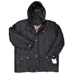 SAXON Quilted Winter Car Coat with  Zip off hood  BRECON BLACK 3 - 5XL