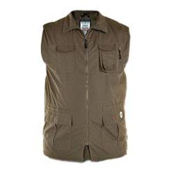D555 Multi Pocket Outdoor Waistcoat WALNUT ENZO