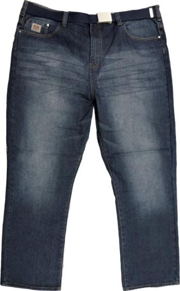 Kam Forge Jeans Distressed Mid Used With Navy Web Belt 40 58