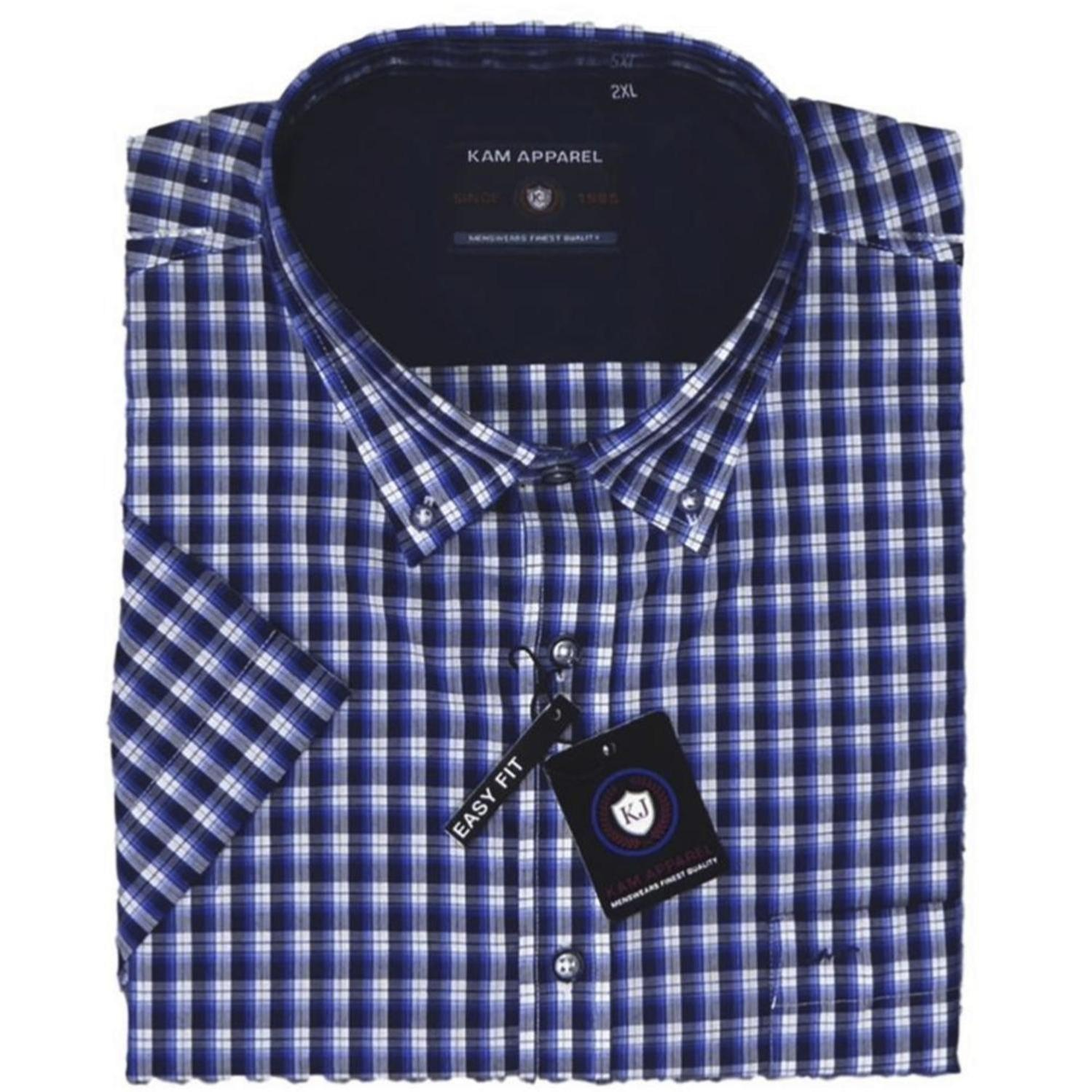 EX-DISPLAY - KAM Classic Check Short Sleeve Casual Shirt BLUE/NAVY 2 XL