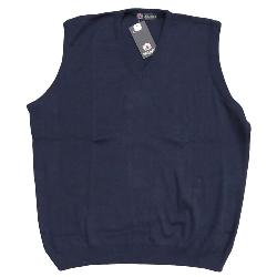 LOUIE JAMES Men's Cotton/Acrylic  V-neck Slip Over NAVY 5 - 6XL