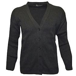 LOUIE JAMES Cotton/Acrylic Mens Button Cardigan BLACK 3 - 6XL