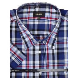 METAPHOR  SHORT SLEEVE CHECK SHIRT NAVY/RED 2 - 8XL