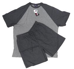 ESPIONAGE MENS BIG SHORTY PYJAMA LOUNGEWEAR SET BLACK / CHARCOAL 2 - 8XL