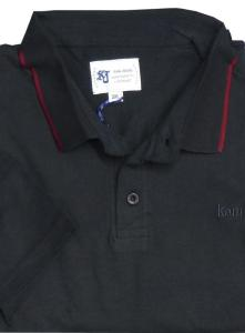 KAM Washed Cotton Chambrey Polo with Tipping detail BLACK