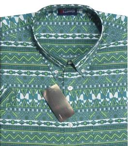 SALE - ESPIONAGE Tropical Print Short Sleeve Shirt AZTEC  GREEN 2XL