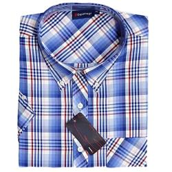 SALE - ESPIONAGE Check Casual Short Sleeve Shirt BLUE/RED/WHITE 7 - 8XL