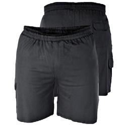 D555 LIGHTWEIGHT FLEECE COTTON JOG SHORTS WITH CARGO POCKET JOHN BLACK 2 - 8XL