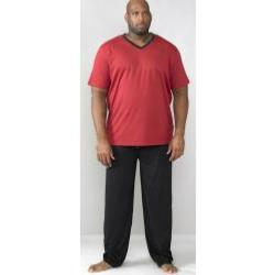 dc7ec1bdad D555 Vee Neck Tee with Trousers Pyjama Loungewear Set RED / BLACK 3 - 4XL