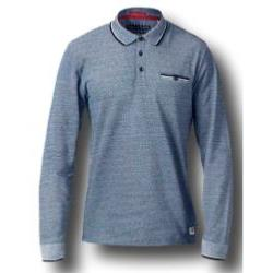 D555 Long Sleeve Polo  with Jacquard Collar and Cuff HOWARD BLUE