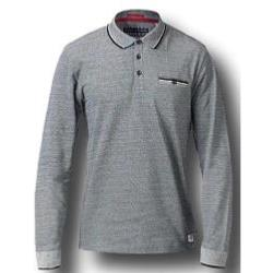 D555 Long Sleeve Polo  with Jacquard Collar and Cuff HOWARD CHARCOAL
