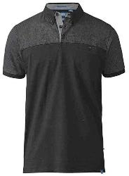 D555 Short Sleeve Polo Shirt with Print Panel Shoulders and Sleeves JAURAM BLACK 7XL