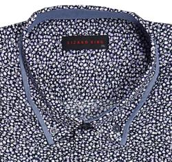 LIZARD KING Small Floral Print Designer Natural Cotton Shirt  NAVY/LILAC