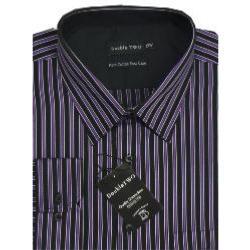 Double Two Pure Cotton Easy Care Office Shirt BLACK/PURPLE/SILVER