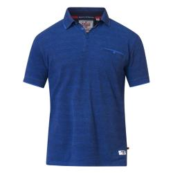 D555  SHORT SLEEVE CASUAL MARL  POLO WITH JACQUARD COLLAR BRELL BLUE MARL  3 - 8XL
