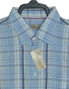 Bar Harbour Natural Cotton Searsucker Blue Check 3XL
