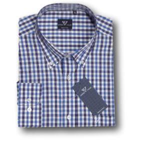COTTON VALLEY  Casual Check  Shirt BLUE/NAVY/WHITE  2XL