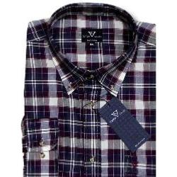 SALE - COTTON VALLEY Brushed Check Long Sleeve Shirt WINE 3XL