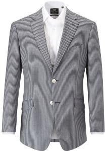 SKOPES  Linen/Wool Men's Striped Jacket - GIJON BLUE