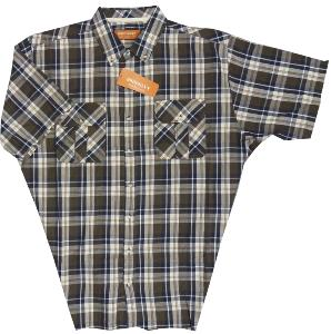 BROOKLYN Natural Cotton Check shirt with twin chest pockets BROWN 2XL