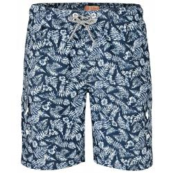 NEW - KAM LEAF PRINT CARGO BEACH SHORTS  NAVY 2 - 6XL