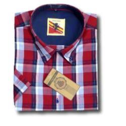 ESPIONAGE Jean Check Casual Short Sleeve Shirt RED/NAVY