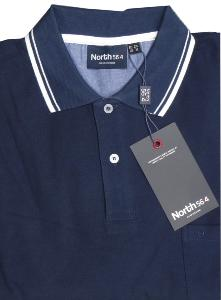 NORTH 56'4 Natural Cotton Contrast Polo NAVY 2XL