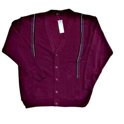 INVICTA Jacquard Button Cardigan WINE 2 - 5XL