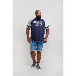 D555 BIG MENS RAGLAN CUT AND SEWN TEE SHIRT JONES NAVY/GREY  3 - 6XL