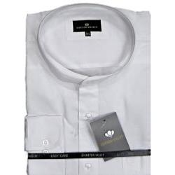 Cotton Valley Classic Shirt with Grandad Collar Long Sleeve WHITE