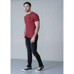 D555  SPACE DYE TEE SHIRT WITH CHEST EMBROIDERY CHALMER RED 3 - 6XL
