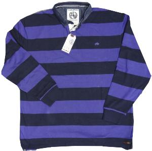 RAGING BULL Long Sleeve Striped First XV Rugby Shirt  NAVY/PURPLE