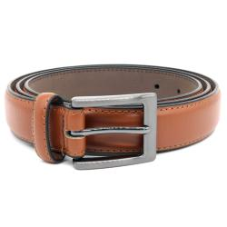 D555 SQUARE BUCKLE Edge-Stitched Narrow Belt 27mm TAN Belt ANTHONY  44 - 64""
