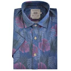 BAR HARBOUR  WASHED PRINTED SHORT SLEEVE SHIRT  PALM LEAVES DENIM 2 - 5XL