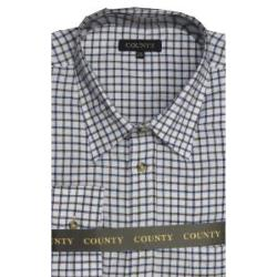 COUNTY Tattersall Brushed Check Shirt BLUE/BROWN CHECK