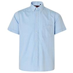 NEW - KAM HERRINGBONE SHIRT  BLUE 2 - 8XL
