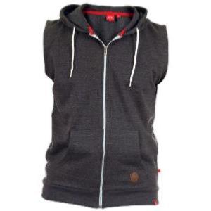 D555 Large Size Sleeveless Hooded Zip Sweatshirt BLAKE -  CHARCOAL