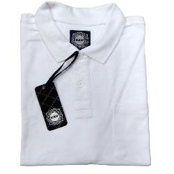 KAM  SIGNATURE  PLAIN PIQUE POLO WITH POCKET  WHITE  2 - 8XL