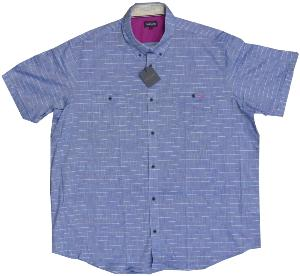 OAKMAN Fresh Check Cotton Shirt BLUE 6XL