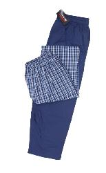 ESPIONAGE BIG MENS TWIN PACK WOVEN PYJAMA TROUSERS NAVY / CHECK 2 - 8XL