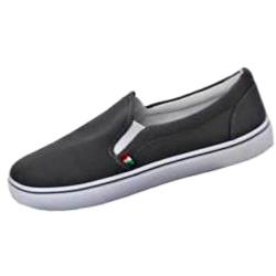 D555 Canvas Plimsoll Slip on Pump with Side Elastic GREY ALDRICH 12- 14UK
