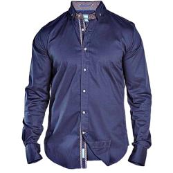 D555 Long Sleeve Stretch shirt with cut away Button down collar NAVY CRAIG