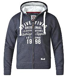 D555   FULL ZIPPER  HOODY WITH EMBROIDERY AND APPLIQUE DETAIL DARK CHARCOAL MELANGE